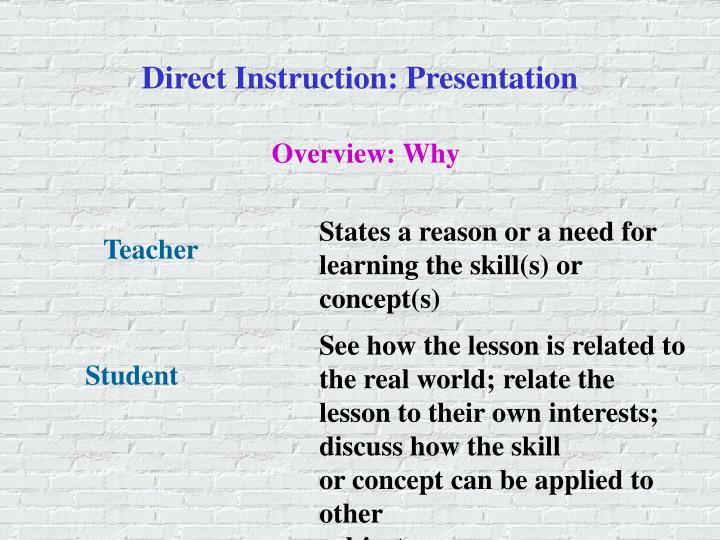 Direct Instruction: Presentation