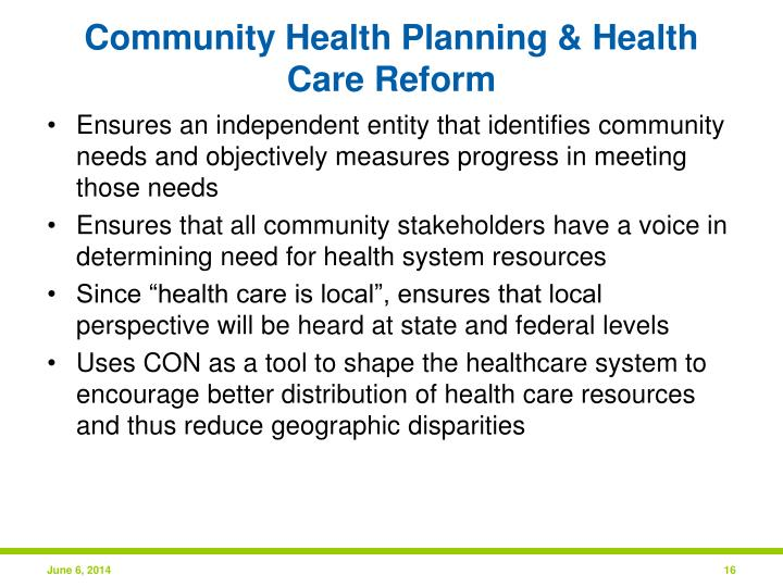 Community Health Planning & Health Care Reform