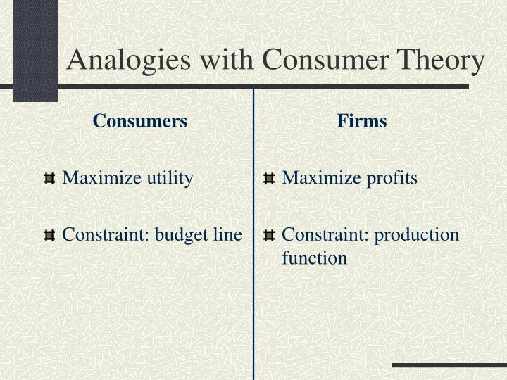 Analogies with consumer theory