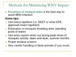 methods for minimizing wnv impact