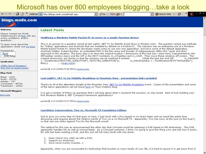 Microsoft has over 800 employees blogging…take a look