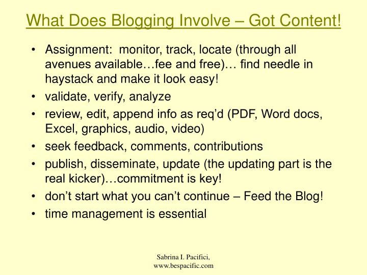 What Does Blogging Involve – Got Content!