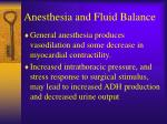 anesthesia and fluid balance
