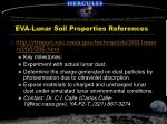 eva lunar soil properties references