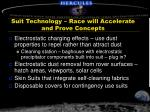suit technology race will accelerate and prove concepts