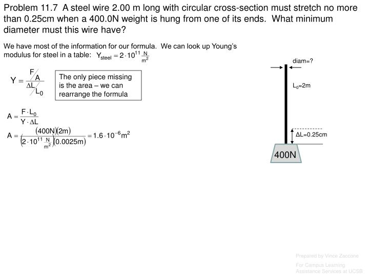 Problem 11.7  A steel wire 2.00 m long with circular cross-section must stretch no more than 0.25cm when a 400.0N weight is hung from one of its ends.  What minimum diameter must this wire have?