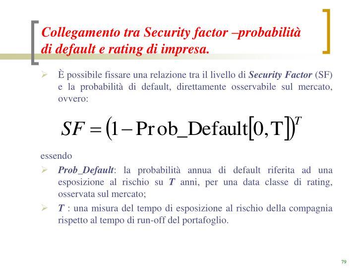 Collegamento tra Security factor –probabilità di default e rating di impresa.