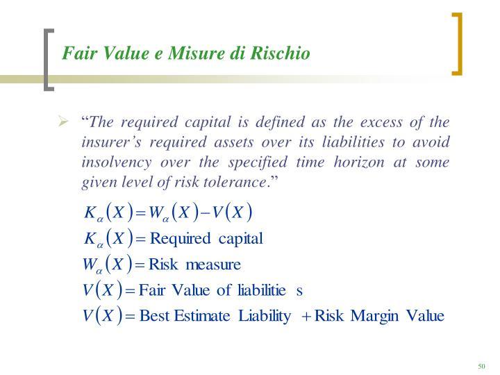 Fair Value e Misure di Rischio