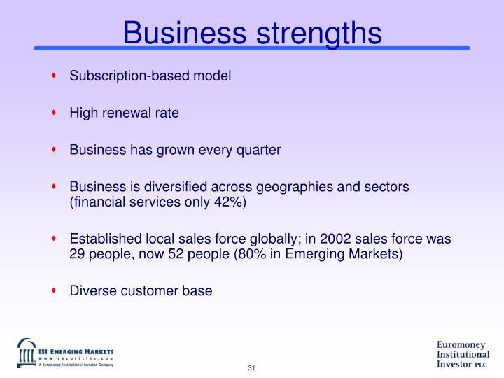 Business strengths