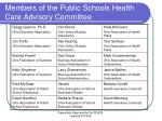 members of the public schools health care advisory committee