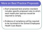 more on best practice proposals