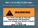 nec 110 16 arc flash label