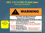 nec 110 16 arc flash label with more information