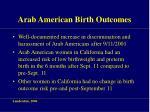 arab american birth outcomes