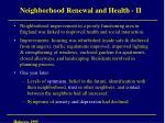 neighborhood renewal and health ii