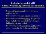 reducing inequalities iii address underlying determinants of health