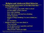 religion and adolescent risk behavior