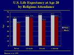 u s life expectancy at age 20 by religious attendance