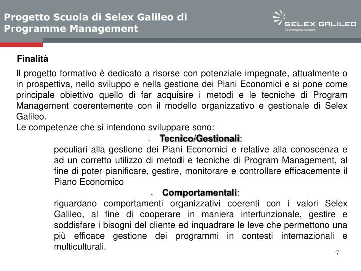 Progetto Scuola di Selex Galileo di