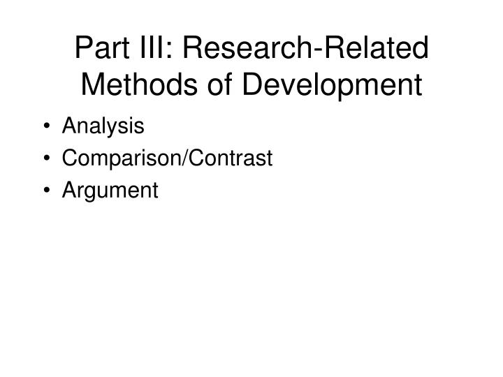 Part III: Research-Related Methods of Development