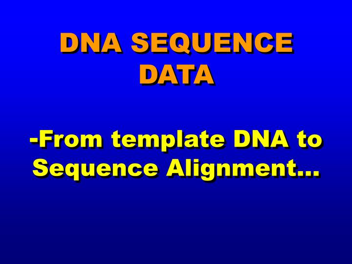 dna sequence data from template dna to sequence alignment n.