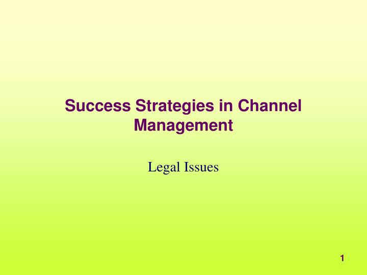 success strategies in channel management n.