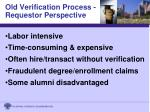 old verification process requestor perspective