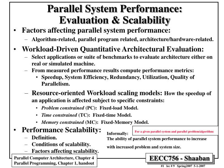 parallel system performance evaluation scalability n.