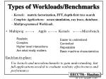 types of workloads benchmarks