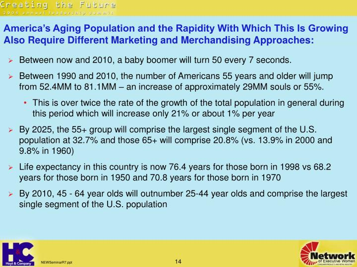 America's Aging Population and the Rapidity With Which This Is Growing Also Require Different Marketing and Merchandising Approaches: