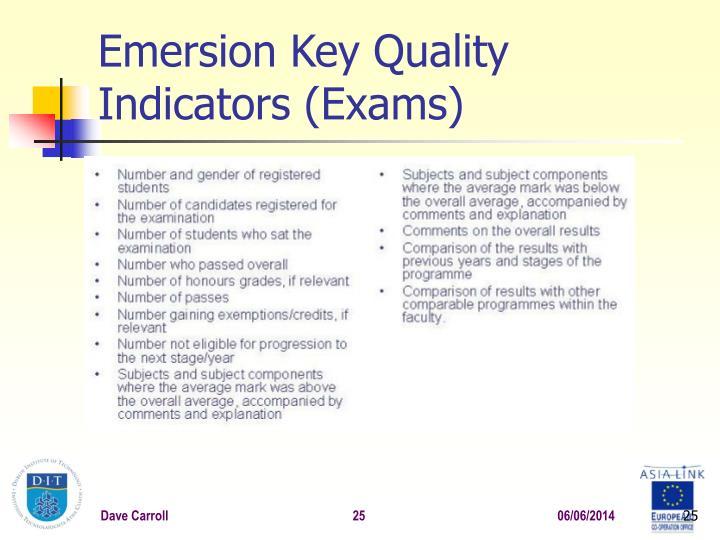 Emersion Key Quality Indicators (Exams)