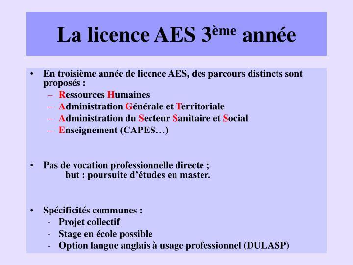 La licence AES 3