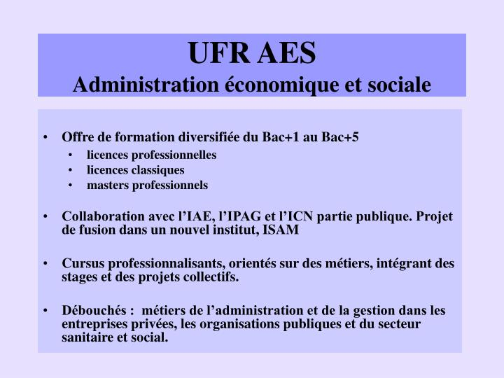 Ufr aes administration conomique et sociale
