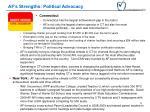 af s strengths political advocacy