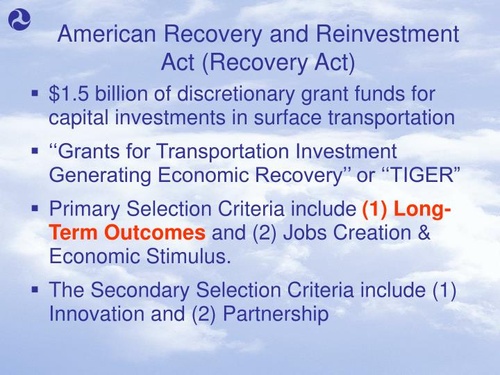 American recovery and reinvestment act recovery act
