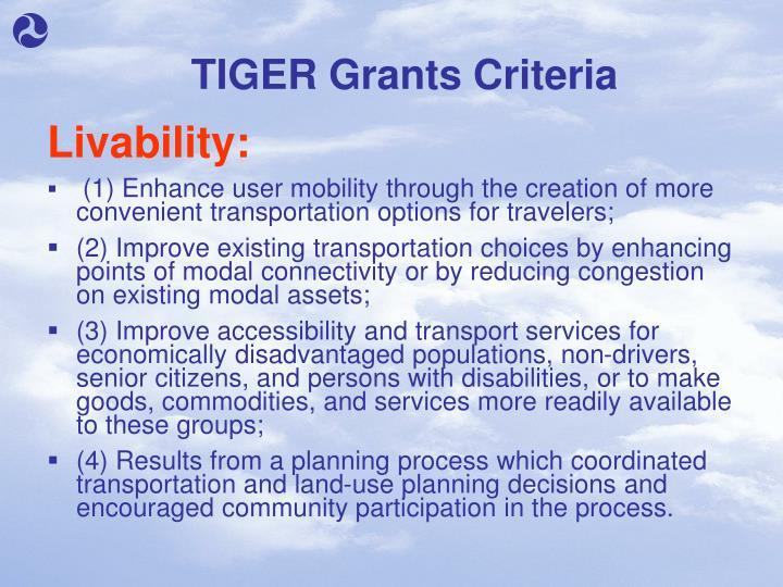 TIGER Grants Criteria