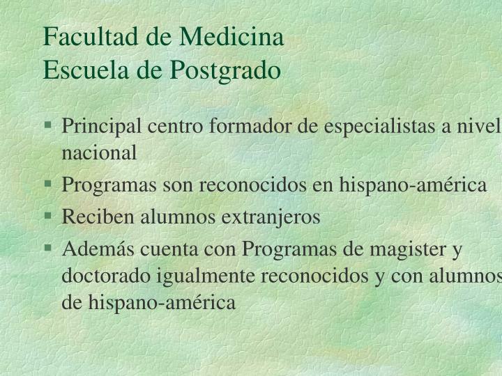 Facultad de medicina escuela de postgrado