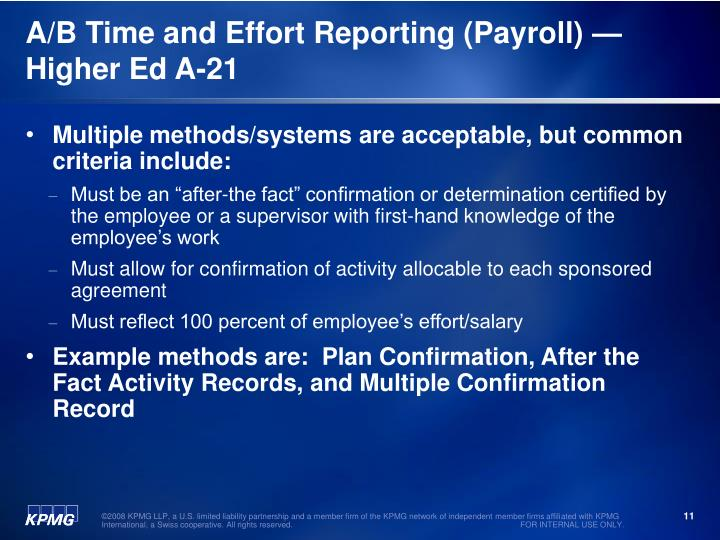 A/B Time and Effort Reporting (Payroll) —Higher Ed A-21