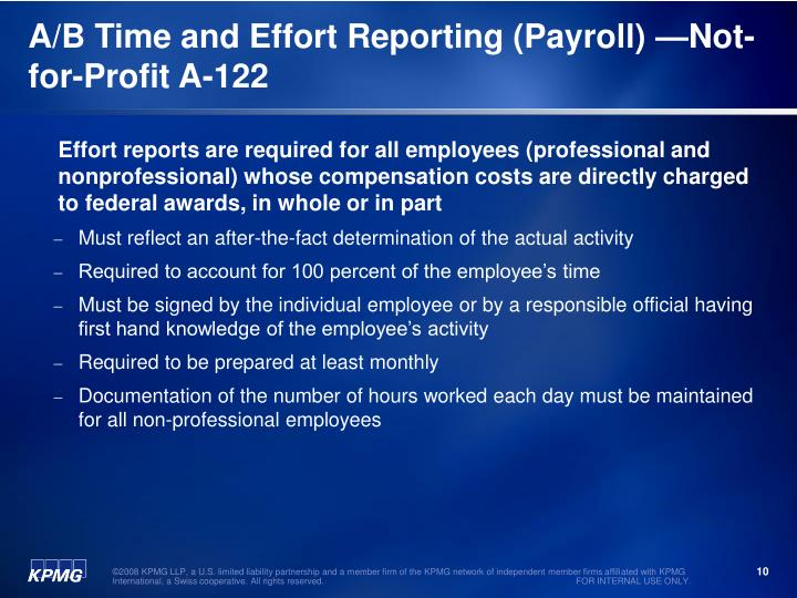 A/B Time and Effort Reporting (Payroll) —Not-for-Profit A-122