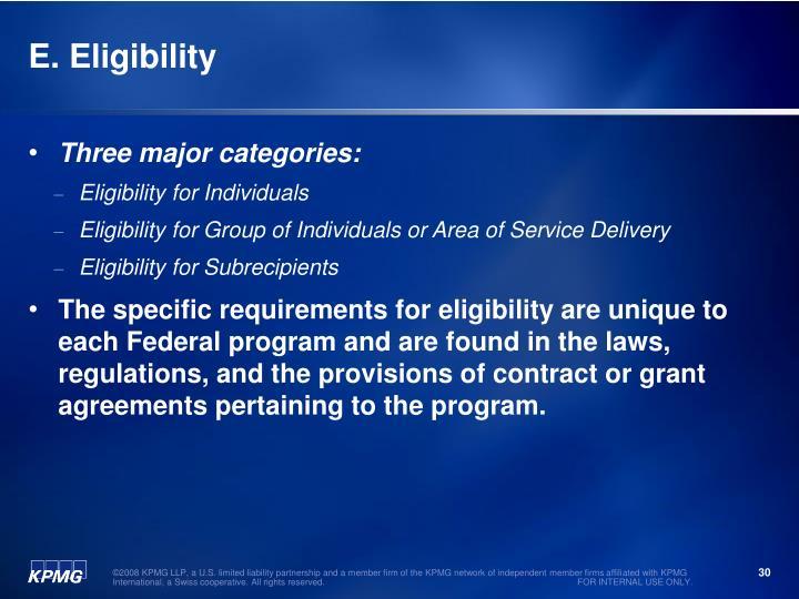 E. Eligibility