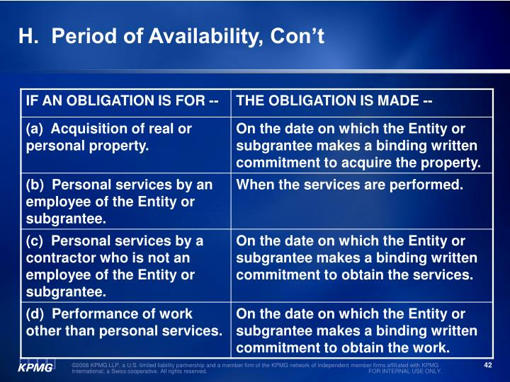 H.  Period of Availability, Con't