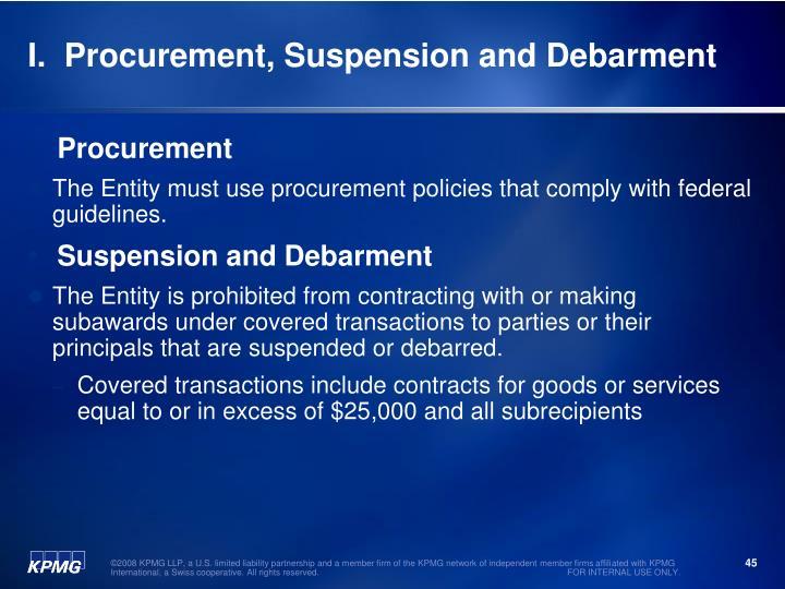 I.  Procurement, Suspension and Debarment