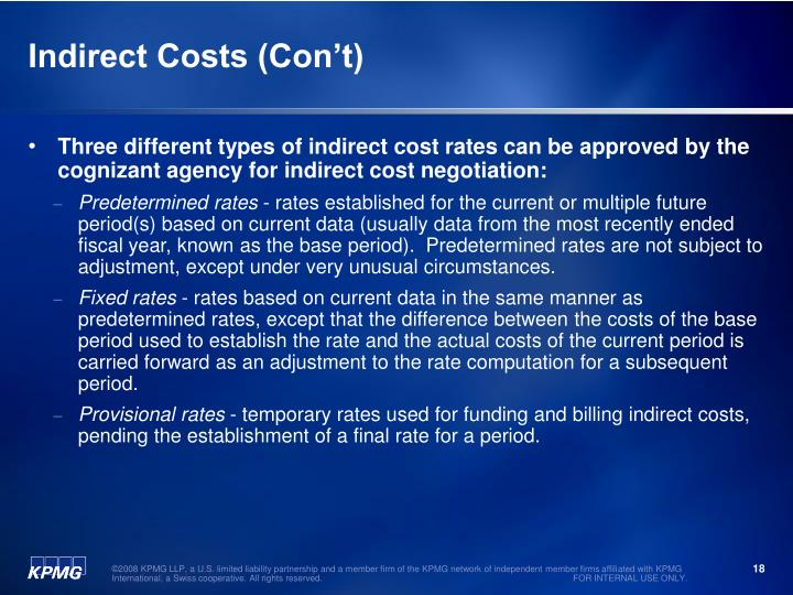 Indirect Costs (Con't)