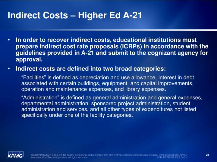 Indirect Costs – Higher Ed A-21