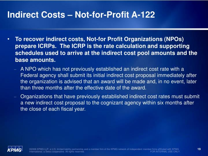 Indirect Costs – Not-for-Profit A-122