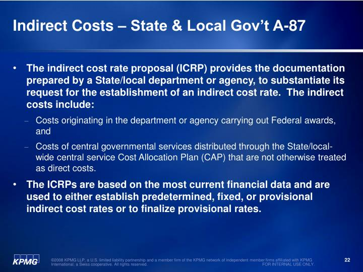 Indirect Costs – State & Local Gov't A-87