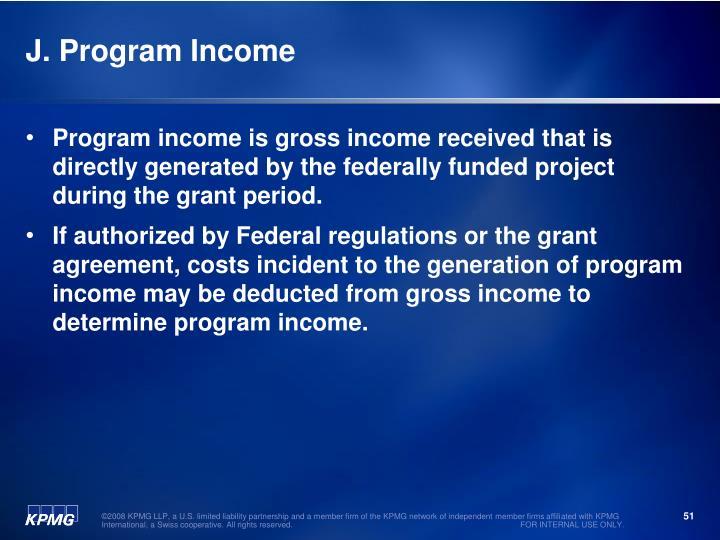 J. Program Income