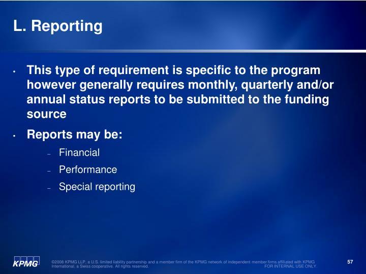L. Reporting