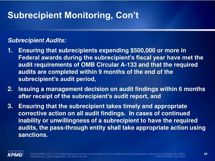 Subrecipient Monitoring, Con't