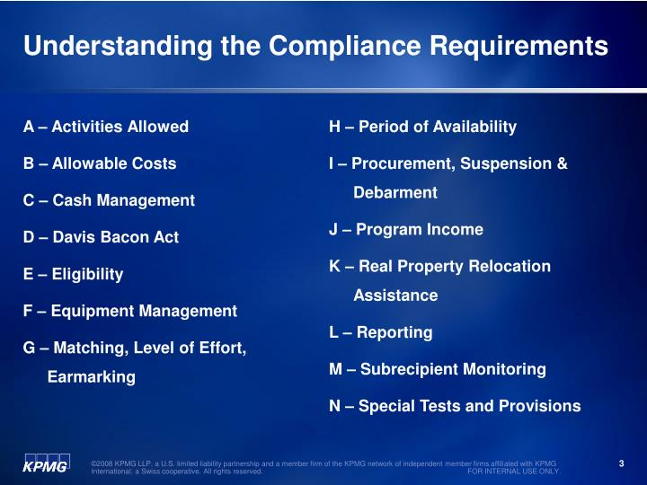 Understanding the compliance requirements